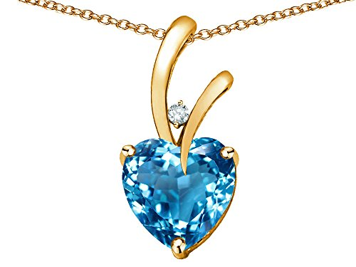 - Star K Heart Shape 8mm Genuine Blue Topaz Endless Love Pendant Necklace 10 kt Yellow Gold