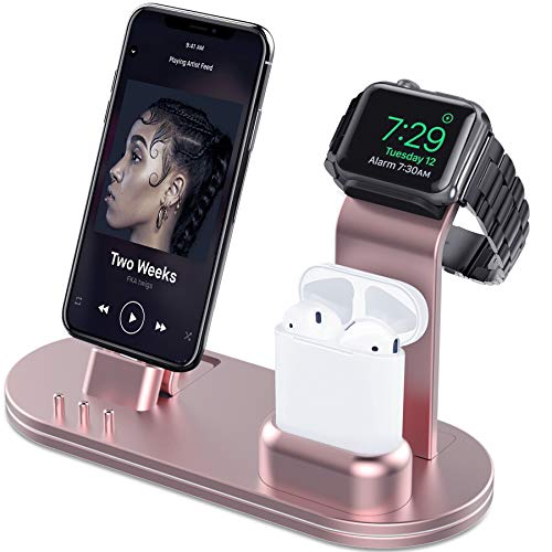 (OLEBR Aluminum Alloy Charging Stand for iWatch 4 Watch Charging Stand for AirPods, iWatch Series 4/3/2/1,iPhone Xs/X Max/XR/X/8/8Plus/7/7 Plus /6S /6S Plus/iPad-Rose Gold)