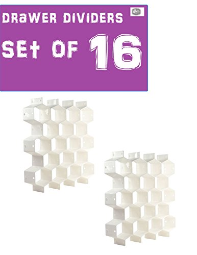Ybmhome Plastic Cellular Partition Honeycomb Shaped Underwear Socks Bras Ties Belts Scarves Drawer Closet Shelf Divider Storage Bin Organizer White 2180-2 (Honeycomb Shaped Drawer Dividers Set of 16) (Cloth Honeycomb)