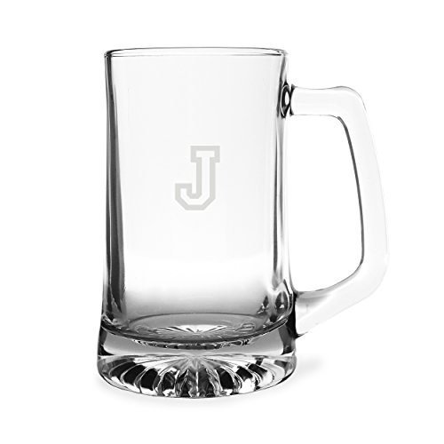 Engraved 25 Oz Sports Mug (Cathy's Concepts Personalized Sports Beer Mug, Letter J)