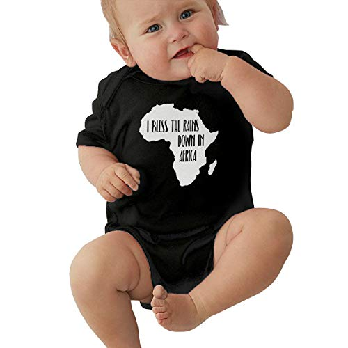 Short Sleeve Cotton Bodysuit for Baby Boys and Girls, Cute I Bless The Rains Down in Africa-1 Sleepwear Black ()