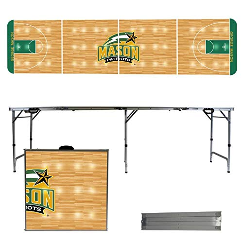 - Victory Tailgate NCAA George Mason University 8'x2' Foldable Tailgate Table with Adjustable Hight and Spill Resistant Sealant - Basketball Court Series