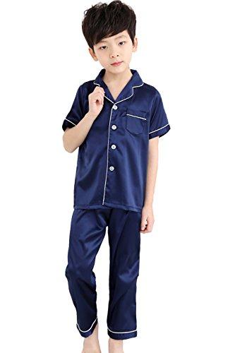 Kids Satin Short-Top and Long-Pants 2-Pieces Pajamas Sleepwears Set