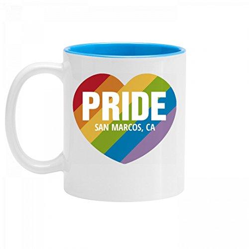 Gay Pride Rainbow Heart San Marcos, CA: 11oz Two Tone Ceramic Coffee Mug -