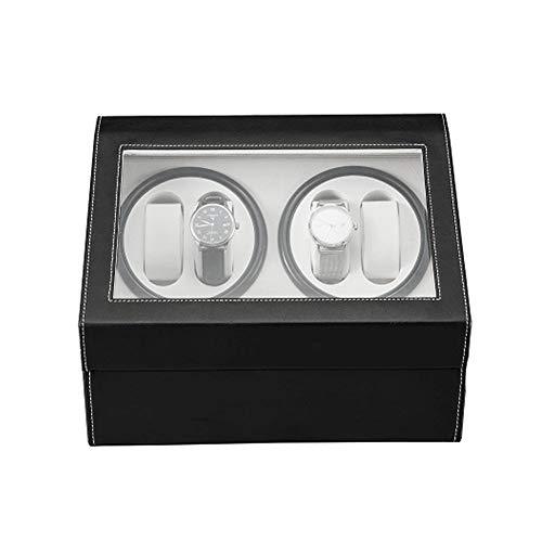 Mira enrollador automatico Caja Winder Reloj Automatico 4 Mira Enrollador 6 Posiciones Y Almacenaje Del Caso Relojes Relojes De Carbono De Devanado De Fibra De Caja De Exhibicion Mira las devanaderas
