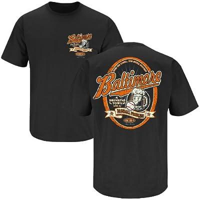 Baltimore Baseball Fans. Baltimore Drinking Town Black T-Shirt (Sm-5X)