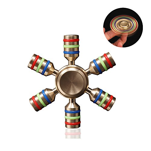 Price comparison product image OWIKAR 2017 New Hand Spinner Fidget Toy 6 Wings Brass Metal EDC Focus Reduce Stress Relieve ADHD ADD Anxiety Autism For Kids & Adults 3-5 Mins Spins R188 Bearing