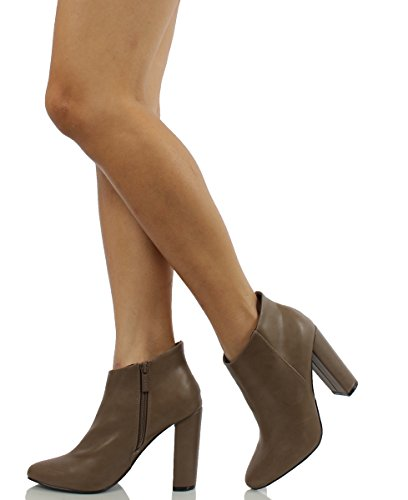 Breckelles Womens Lisa 11 Faux Leather Pointy Toe Chunky Heel Ankle Boot Beige aqctwFjd4Q