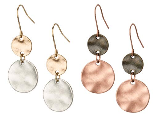 SPUNKYsoul Tribal Gold, Silver and Copper or Rose Gold Mixed Metal Boho Chic Ethnic Vintage Hoop Circle Fishhook Dangle Earrings for Women and Girls Gift Jewelry Bohemian (2 Disc 2 Pack)