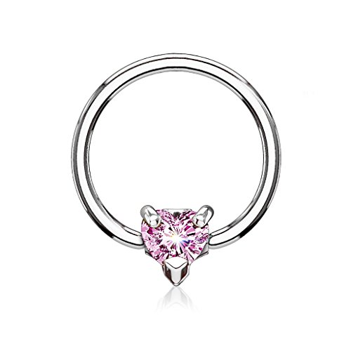 (16GA CZ Crystal Heart Septum / Cartilage Captive Bead Ring - Available in Multiple Colors (Silver Tone / Pink))