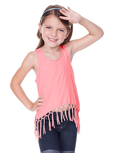 Kavio! Little Girls 3-6X Sheer Jersey Scoop Neck Macrame Fringe Asymmetrical Tank Flamingo 5/6 - Jersey Fringe