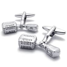 Konov Jewelry 2pcs Classic Novelty Personalized Unique Music Mike Shirts Mens Cufflinks, Silver, 1 Pair, with Gift Bag, C21570
