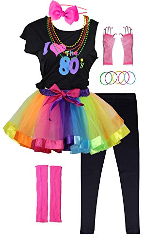 I Love 80s Pop Party Rock Star Child Girl's Costume Accessories Fancy Outfits (7-8, Black)
