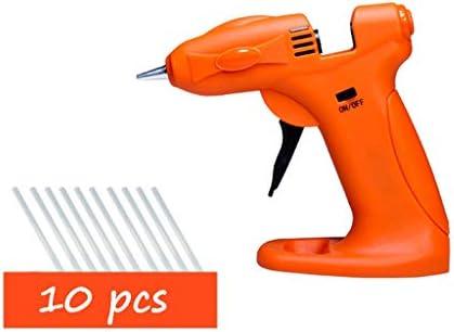 Minmin 10本のスティックのり、毎日のシーリング・保守、屋外作業、オレンジのホットメルト接着ガン、5-12Wミニ充電式リチウム電池ホットグルーガン、 ミニ (Color : Orange)