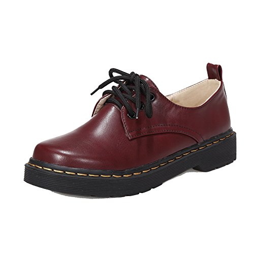 AllhqFashion Womens Round-Toe Lace-Up PU Solid Low-Heels Pumps-Shoes Claret
