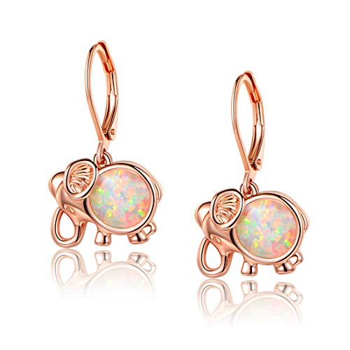 Opal Elephant Earrings Leverback Earring Animal Dangle Rose Gold Plated Earing Hypoallergenic Lucky Gift Jewelry for Women Ladies