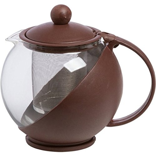 Om Joy Small Herbal Loose Leaf Tea Brewer Tea for Two Teapot (25 Oz): Coffee Brown