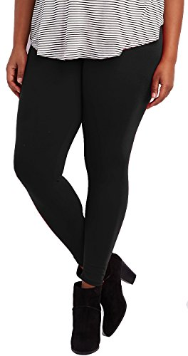 Lush Moda Extra Soft Leggings - Variety of Colors -Plus Size Yoga Waist - Black (Plus Size Teen)
