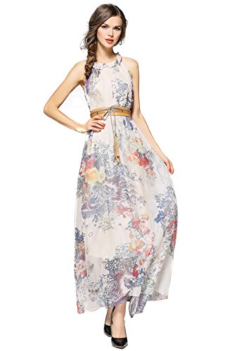 Joy EnvyLand Plus Size Floral Evening Gown Prom Cocktail Party Summer Maxi Dress,Beige,Large - Floral Chiffon Gown