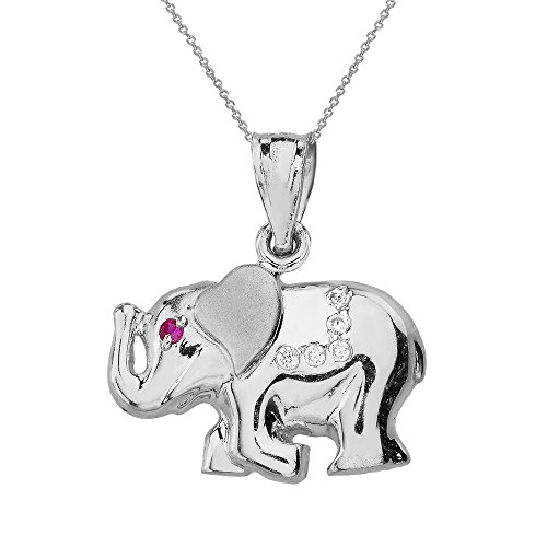 925 Sterling Silver CZ Good Luck Charm Asian Elephant Necklace, 16