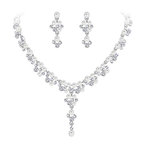 EVER FAITH Crystal Simulated Pearl Luxury Wedding Filigree Drop Necklace Earrings Set Clear Silver-Tone