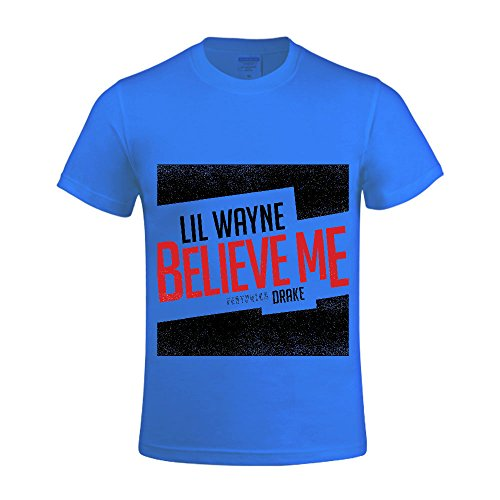 [Lil Wayne Believe Me Men T Shirts Crew Neck Funny Blue] (Mens Disco Jumpsuit)