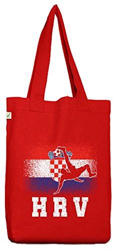ShirtStreet Hrvatska Kroatien Fußball WM Fanfest Gruppen Bio Baumwoll Jutebeutel Stoffbeutel Croatia Football Player Red