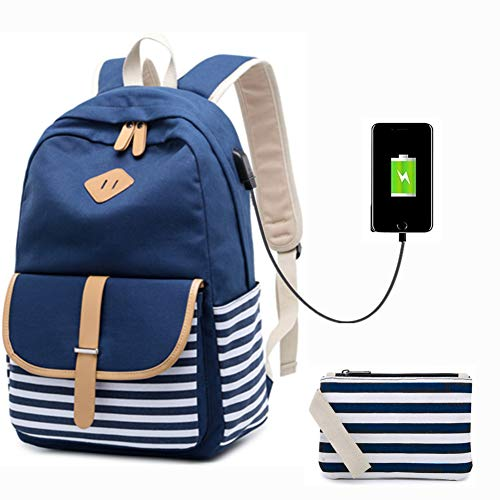 Lightweight School Backpack Canvas Bookbag Student School Rucksack College Bag Travel Casual Daypacks for Teen Girls (Blue)