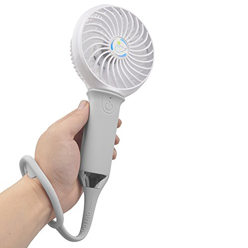 Mini Portable USB Fan with 3 Level Adjustable Fan Speed with LED Light Handheld Fan with Silicone Handle (Gray)