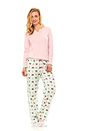 Women's Long Sleeve Pajama Top & Plush Micro Fleece Pants Sleepwear Set W/ Socks