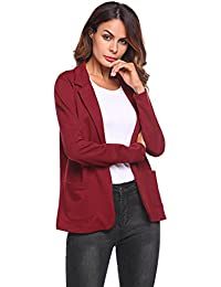 Womens Solid Long Sleeve Open Front Slim Fit Casual Blazer Jacket