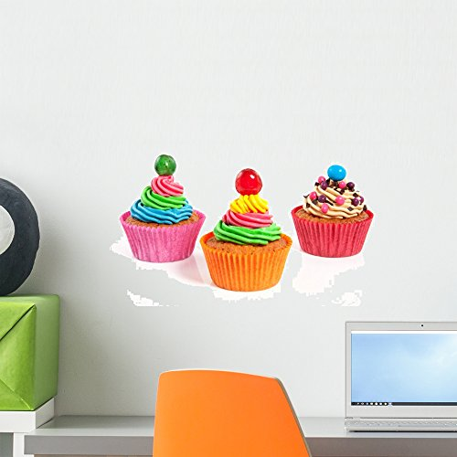 Wallmonkeys Three Colorful Creamed Cupcakes with a Cherry and Chocolate on T Wall Decal Peel and Stick Graphic WM94308 (18 in W x 12 in H)