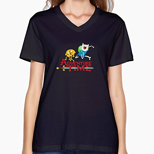womens-adventure-time-logo-black-v-neck-t-shirt