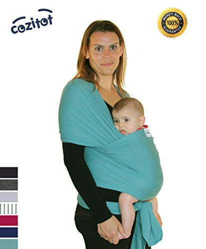 For Sale! Moss Green (Aqua) Baby Sling Carrier Wrap by Cozitot | Soft & Stretchy Baby Carrier | Baby...