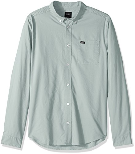 RVCA Men's That'll Do Oxford Long Sleeve Woven Shirt, Green Haze, M ()