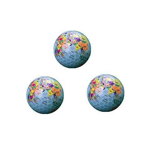 WYF 3pcs World Earth Globe Golf Balls Double-Layer Construction World Map Occasion Pattern Sport Golf Trick & Novelty Balls Gift Set ()