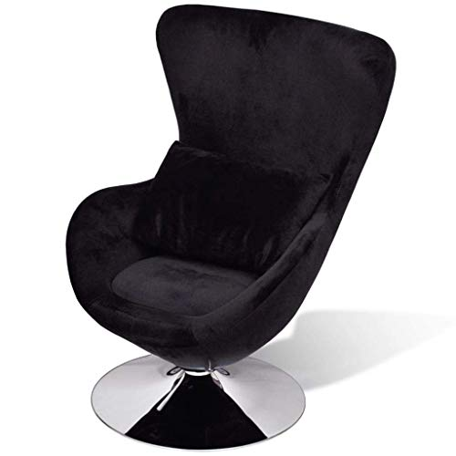 WWHZ Swivel Egg Chair with Cushion Velvet French Sofa Chair Armchair Bedroom Chair French Armchair Office French Style Furniture Comfortable Black