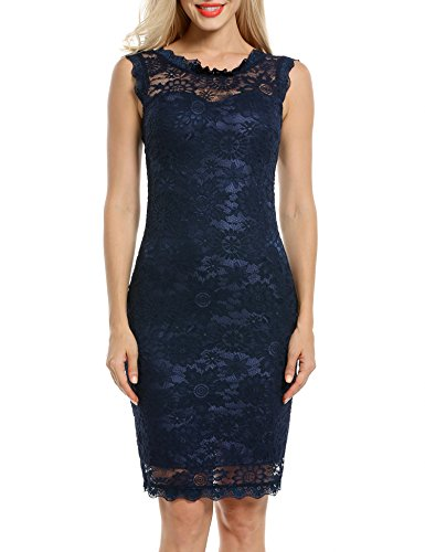 Acevog Women's Elegant Floral Sleeveless Lace Cocktail Evening Dress (X-Large, Blue)