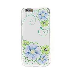 WQQ Kinston Blue and Green Flower Diamond Paste Pattern TPU Soft Cover for iPhone 6 Plus