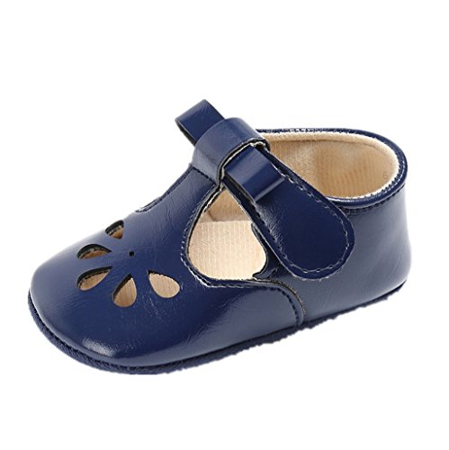 Babyschuhe Auxma Baby Mädchen Hohl Bowknot Soft-Soled Prinzessin Schuhe Sandalen für 3-18 Monate (3-6 M, Blau) Blau
