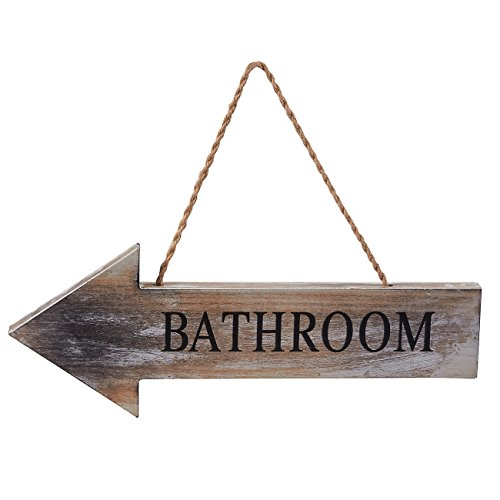 (Juvale Restroom Sign - Wall Mounted Washroom Directional Arrow Sign, Ideal for Restaurant, Cafes, Bars, Rustic Style Wooden Bathroom Sign, 15.7 x 5.7 x 1.1 Inches)