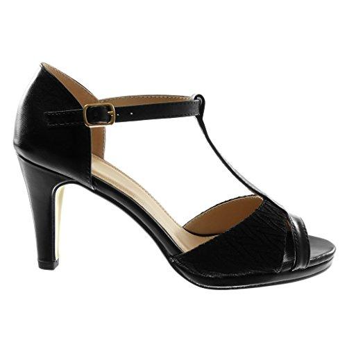 Angkorly Damen Schuhe Pumpe Sandalen - T-Spange - Stiletto - Peep-Toe - Glänzende - Spitze Stiletto High Heel 8.5 cm Schwarz