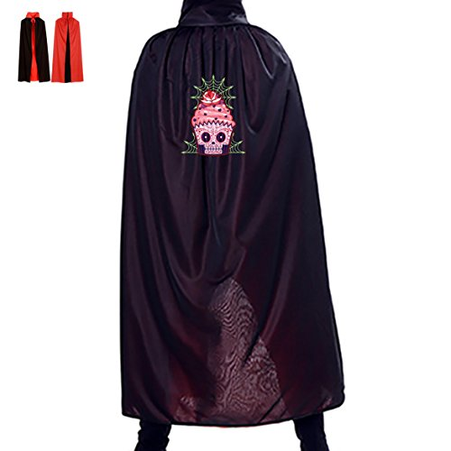 Sugar Skull Homemade Costume (Cup Cake Sugar Skull Reversible Halloween Cape Vampire's Cowl 29.5(in))