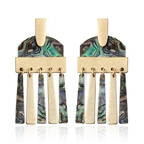 RIAH FASHION Simple Geometric Natural Crystal Stone Statement Earrings - Jewel Quartz Fringe Tassel, Oval Threader, Quatrefoil Hook, Hexagon, Shield Disc Drop, Bead Dangles (Fringe Dangles - Abalone)