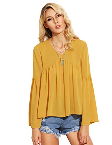 SheIn Women's Bell Sleeve V Neck Dip Hem Pleated Blouse Top Medium Yellow (Top Dip Hem)