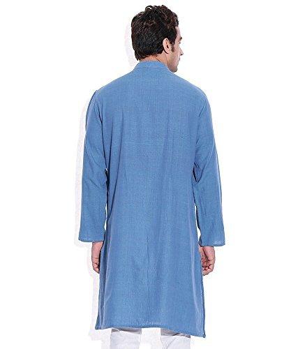 Royal Kurta Men's Summer Wear Fine Cotton Blended Straight Kurta 44 Blue