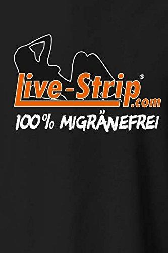 Herren T-Shirt schwarz | Rundhals-Auschnitt | Live-Strip Migränefrei | Kurzarm-Shirt | 100% Baumwolle