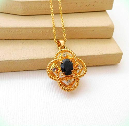 Vintage Inspired Blue Sapphire Gold Tone Love Knot Pendant Necklace for Women XX50