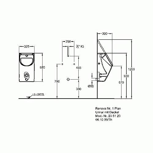 Keramag Renova Nr1 Plan Urinal Mit Deckel Zulauf Hinten Abgang