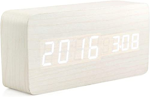 Oct17 Wooden Digital Alarm Clock, Wood Fashion Multi-Function LED Alarm Clock with USB Power Supply, Voice Control, Thermometer – White